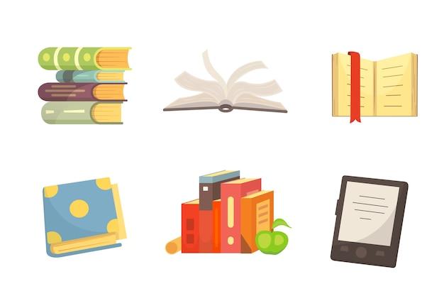 Bücher, die in der isolierten illustration des karikaturdesignstils gesetzt werden.