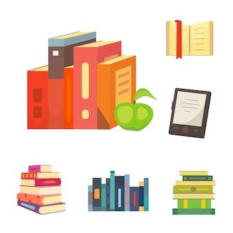 Bücher eingestellt in karikatur lokalisiert auf weißem hintergrund, illustration.