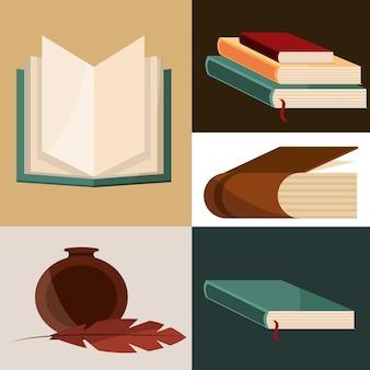 Bücher feder und tinte