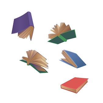 Bücher fliegen cartoon illustration