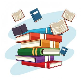 Bücher fliegen und gestapelte cartoons