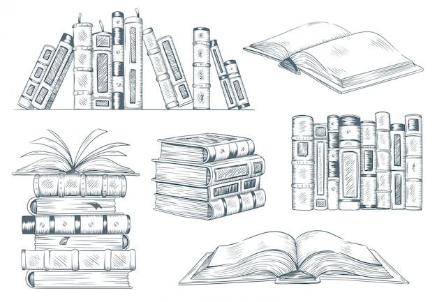 Bücher gravur. vintage offene buchgravurskizze gezeichnet. handzeichnender student, der lehrbuchillustration liest