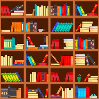 Bücher im bücherregal nahtloses muster