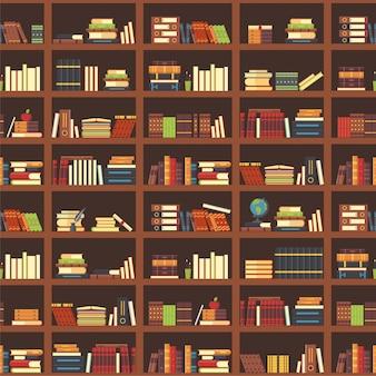 Bücher im nahtlosen muster des bücherschranks