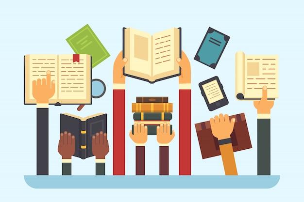 Bücher in händen