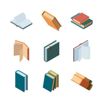 Bücher isometrisch. tagebuch offene und geschlossene zeitschriften und bücher bibliothek bunte isometrische sammlung