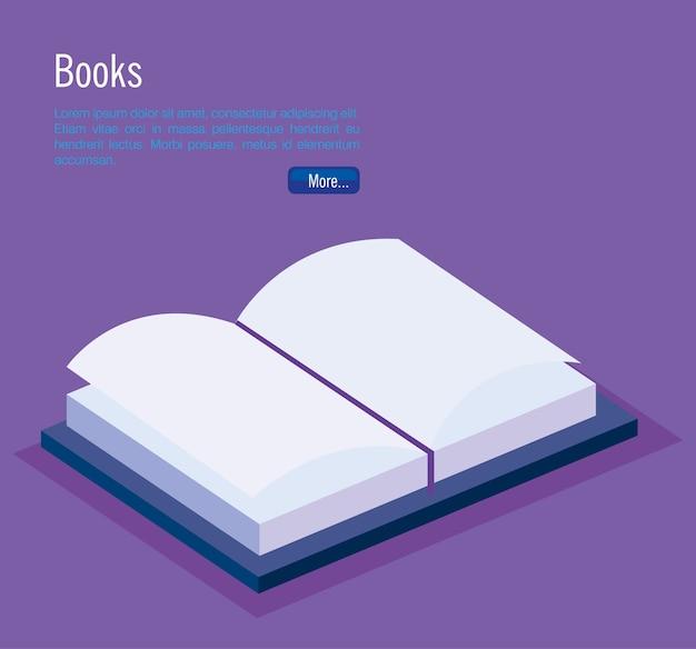 Bücher isometrische ikonenvektor-illustrationsdesign der schule Premium Vektoren