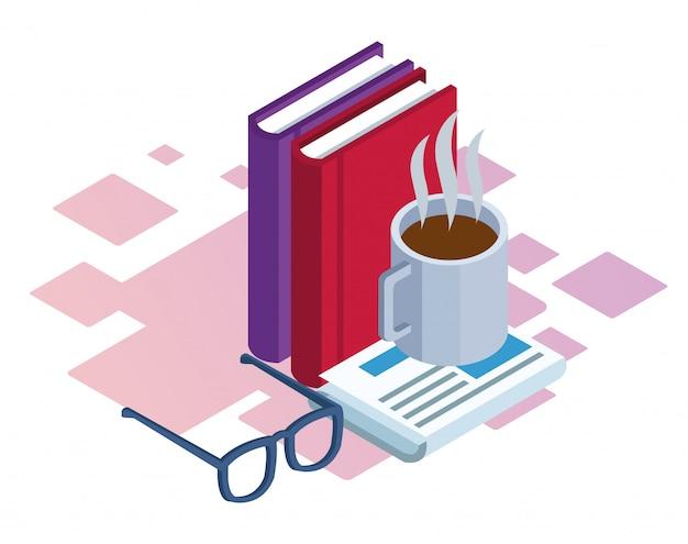 Bücher, kaffeetasse und gläser über weißem hintergrund, buntes isometrisches