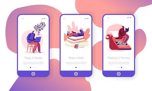 Bücher lesen hobby mobile app seite onboard screen set.
