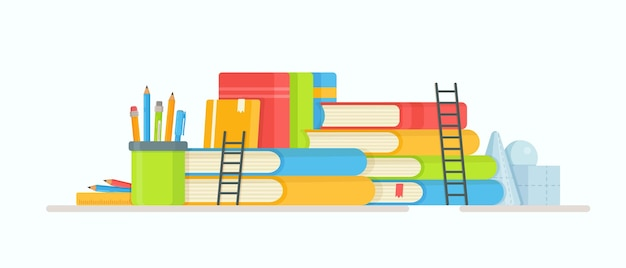 Bücher lesen. illustration der prüfungsvorbereitung. hausaufgaben machen. online-unterricht.