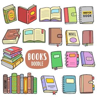 Bücher mit bunten vektorgrafiken und doodle-illustrationen