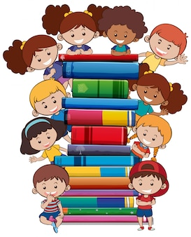 Bücher mit kindern auf weißem hintergrund