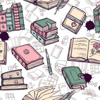 Bücher nahtlose muster