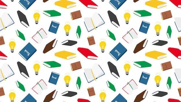 Bücher nahtloses muster. vektor bücher und glühbirnen nahtlose textur. hintergrund lesen