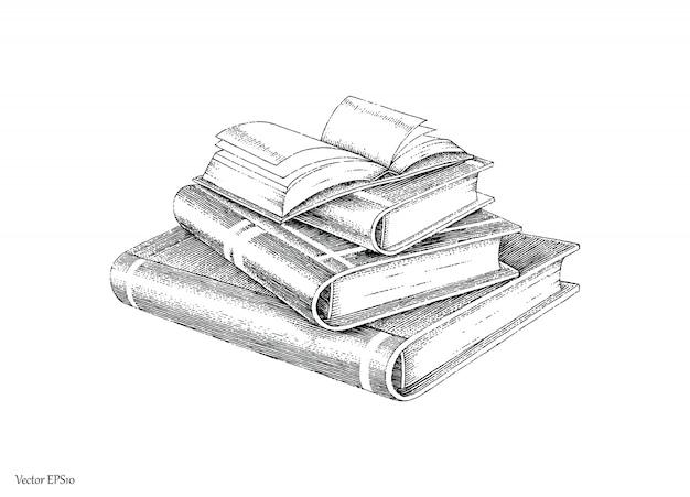 Bücher stapeln handzeichnung vintage-stil schwarz-weiß-linie