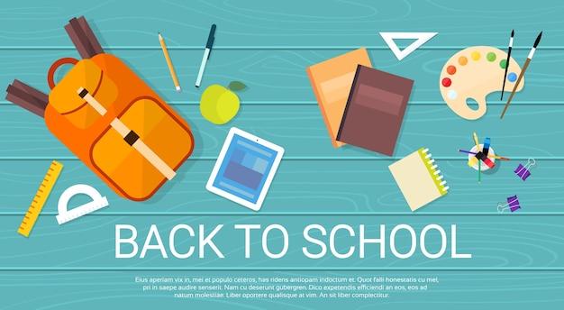 Bücher-tasche universitätsstudenten-personal zurück zu schule-fahne