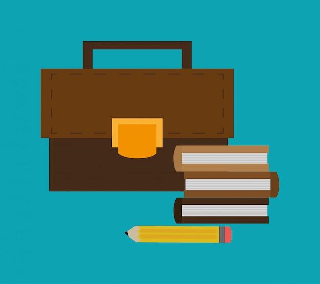 Bücher und aktentasche büro ähnliche elemente symbol