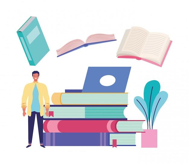 Bücher und bildungskarikaturen