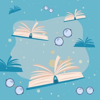 Bücher- und brillenmuster