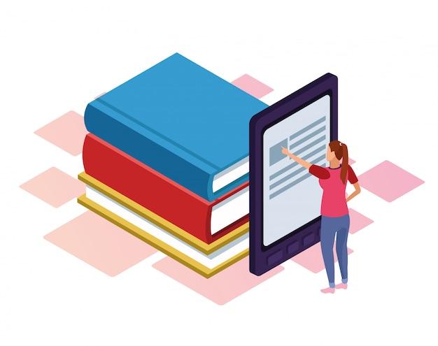 Bücher und ebook und frau, die auf weiß stehen