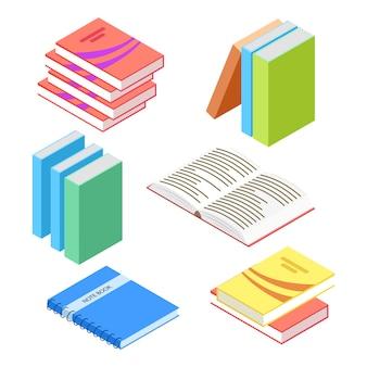 Bücher und notizblock auf weiß gesetzt