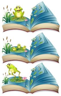 Bücher von fröschen, die in der teich-illustration leben