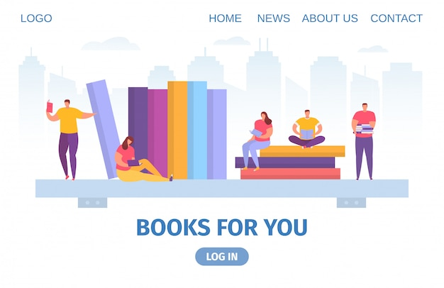 Bücher, wissen und kleine leute lesen und studieren texbooks flache cartoon-illustration für web-bildung.
