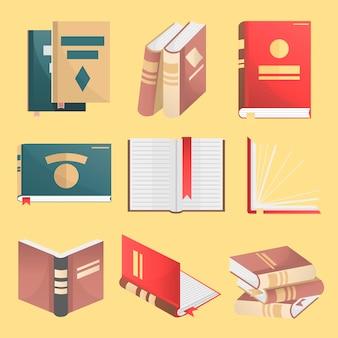 Bücherikonen eingestellt. vektorabbildung getrennt