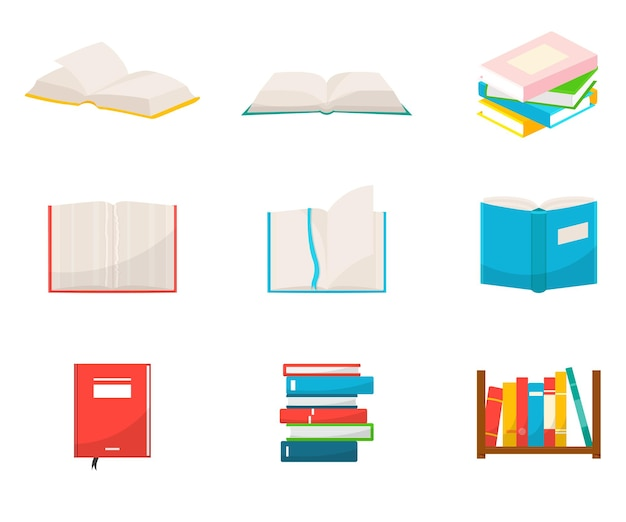Bücherillustrationen eingestellt schulhefte mit leeren blättern notizblöcke lehrbücherstapel und stapel