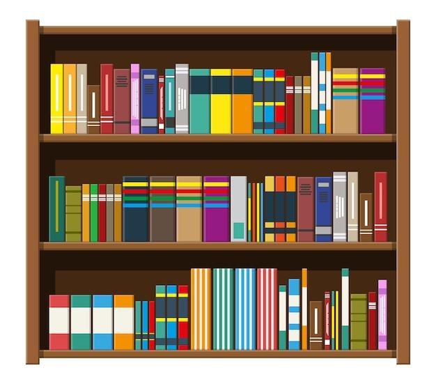 Bücherregal der bibliothek. bücherregal mit verschiedenen büchern.