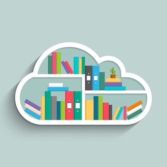 Bücherregal in form einer wolke mit bunten büchern