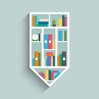 Bücherregal in form von bleistift mit bunten büchern