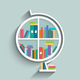 Bücherregal in form von globus-modell mit bunten bücher.