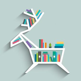 Bücherregal in form von hirschen mit bunten bücher.