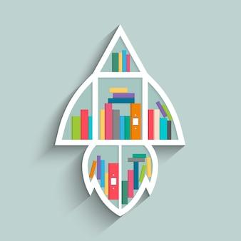 Bücherregal in form von rakete mit bunten büchern.