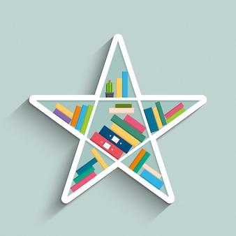 Bücherregal in form von stern mit bunten büchern