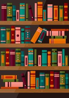 Bücherregal mit büchern set aus verschiedenen buchrücken auf holzregalen bibliotheksbanner