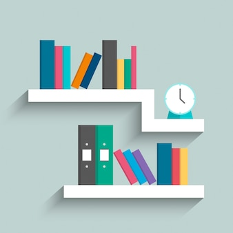 Bücherregal mit bunten büchern und uhr auf blauem pastellfarbhintergrund