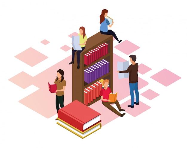 Bücherregal mit den leuten, die herum auf weiß lesen