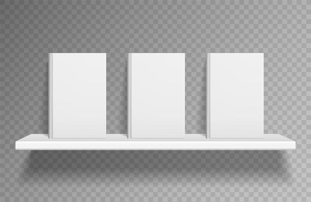 Bücherregal-modell. realistische bücher auf weißem regal an der wand mit schatten im buchladen. sauberes leeres taschenbuch des lehrbuchs für buchhandlung oder bibliothek, vektorschablone einzeln auf transparentem hintergrund
