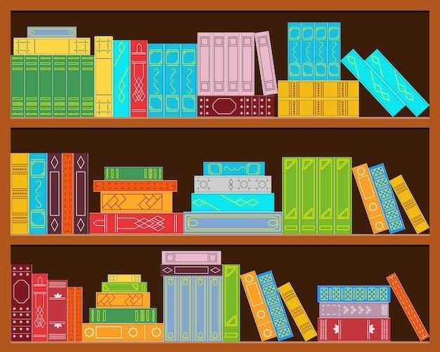 Bücherregal. satz bücherstapel. heller farbiger deckel. flacher stil. das design der bibliothek, des büros, der buchhandlung. vektor-illustration.
