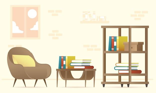 Bücherregal und sofa schmücken haus set ikonen illustration design