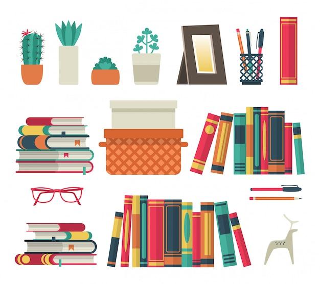 Bücherregale eingestellt. flaches regalbuch in der raumbibliothek, lesebuch büroregal wandinnenstudie schule isolierte sammlung