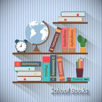 Bücherregale mit lehrbüchern im flachen stil. zurück zum schulkonzept
