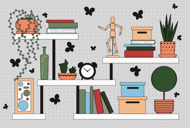 Bücherregale mit pflanzen, büchern und anderen einrichtungsgegenständen vektorillustration