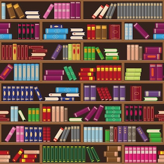 Bücherregale und bunte bücher. bildungs- oder buchhandlungskonzept.