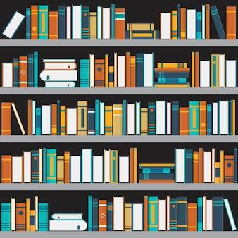 Bücherregalillustration im flachen stil.