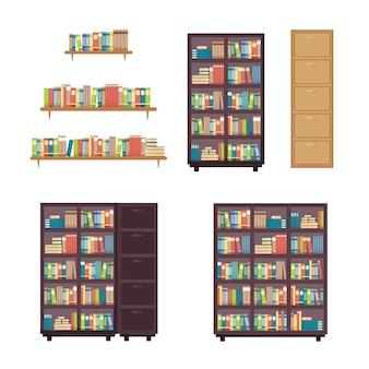Bücherstapel auf bücherregal bücherregal bibliotheksmöbel