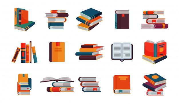 Bücherstapel von lehrbüchern und notizbüchern auf bücherregalen, die literatur in bibliothek oder buchhandlung lesen buchdeckel-illustrationssatz lokalisiert auf weißem hintergrund