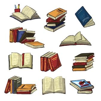 Bücherstapel von lehrbüchern und notizbüchern auf bücherregalen in bibliothek oder buchhandlungsillustrationssatz des buchdeckels der schulliteratur lokalisiert auf weißem hintergrund